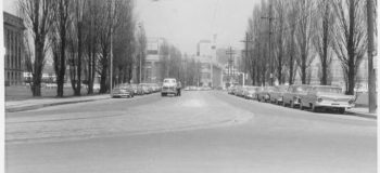Archival photo of street looking North on Bay St. from Queen's Quay in Toronto in 1959.